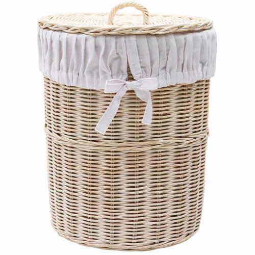 Hera vasketøjskurv i rattan og bomuldspose