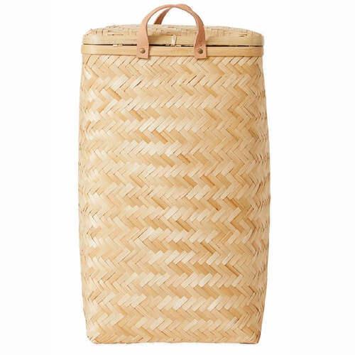 OYOY Sporta vasketøjskurv i bambus og læderstropper