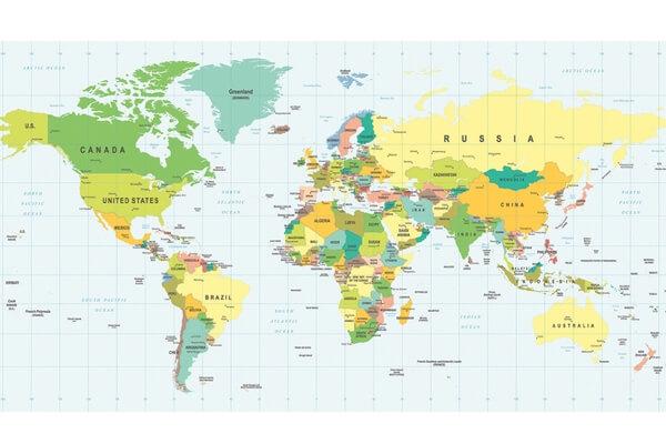 Plakat til stuen med stort verdenskort