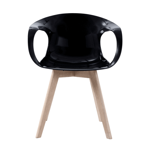 Preform WIll Tomcat stol i sort plast og egetræsben