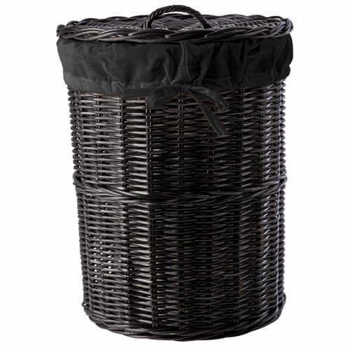 Vallea vasketøjskurv i sort rattan og sort stof