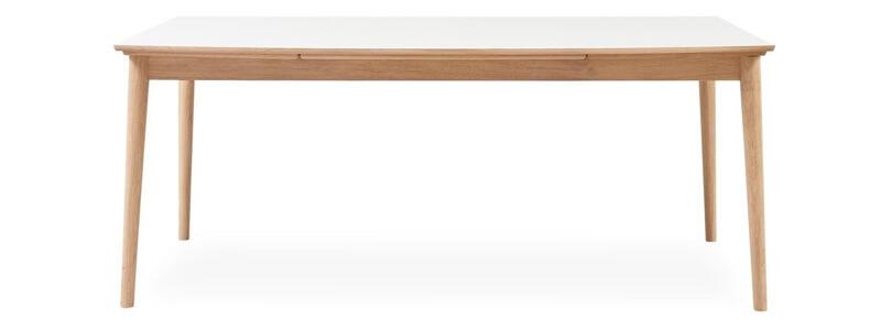 Curve spisebord i hvid massivt matlakeret eg