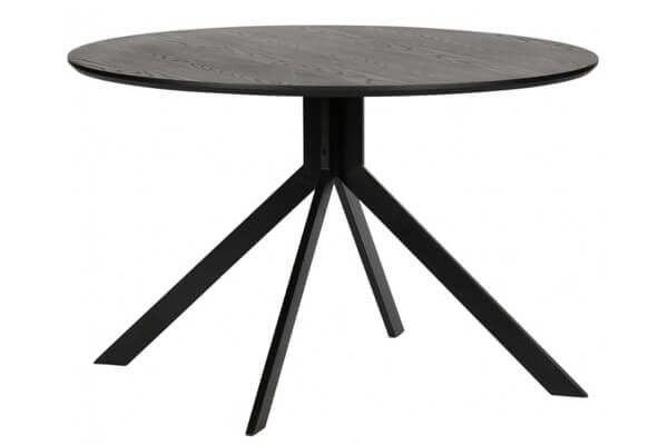 Rundt spisebord i MDF og metal der passer til mørke møbler