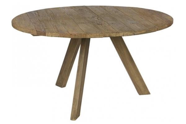 Rustik rundt spisebord i elmetræ i naturfarvet træ