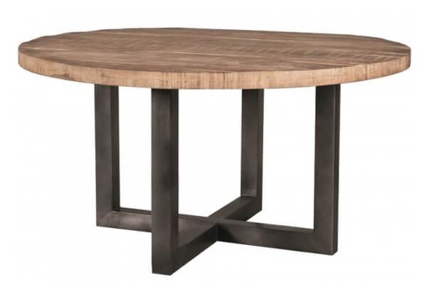 Rustik rundt spisebord i massivt mangotræ i rustikt design