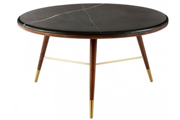Sofabord i valnød, marmor og messing