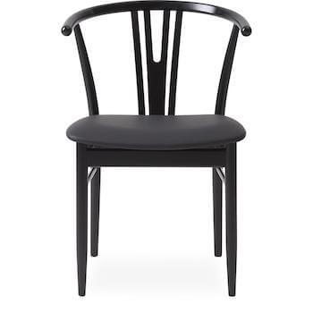 Arthur spisebordsstol i sortmalet bøgetræ og sort lædersæde
