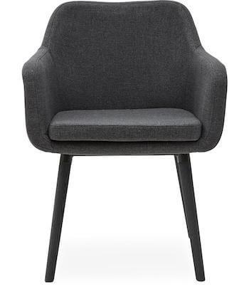 Chariton stol i koksgrå sæde og med sorte gummi ben