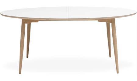 Haslev 7-H spisebord med hvid top laminat og ben i egetræ