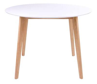 Vojens rundt spisebord i hvid med naturfarvet ben i str. 75 x 105 cm