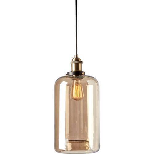 Amber Pendel - Moderne lampe med messing fatning og ravfarvet glas