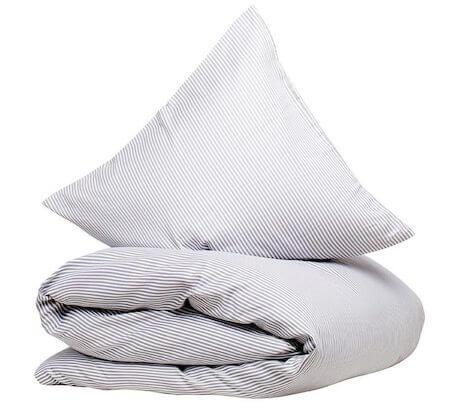 CPH living Nørrebro- Stribet sengetøj af bomuldssatin i lys farve