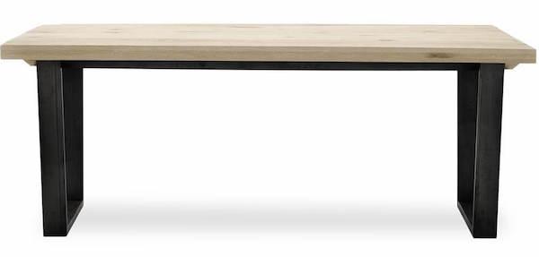 Calia Spisebord - Massivt langbord med ben lakeret i rå metal ekskl. tillægsplader