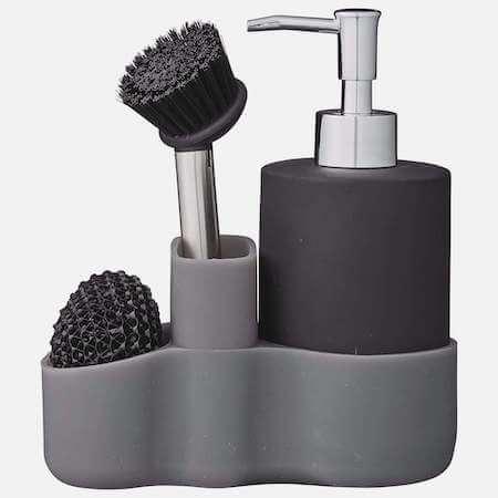 Carina dispenser i sort - Bedste sæbedispensere inkl. børste og svamp