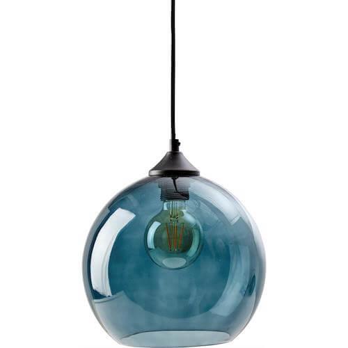 Como pendel - Moderne pendel lampe med blå glasskærm og tekstil ledning