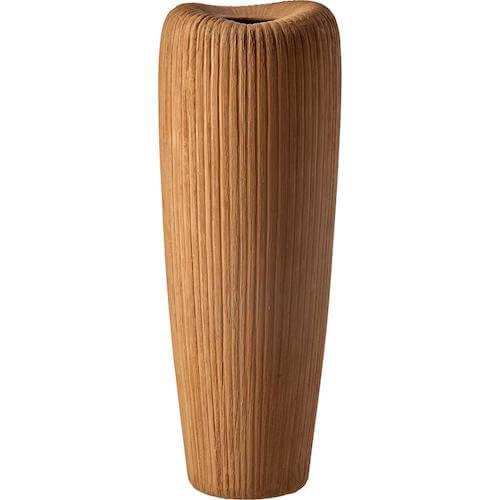 Eza vase 1 mørkegul rillet vase i stentøj