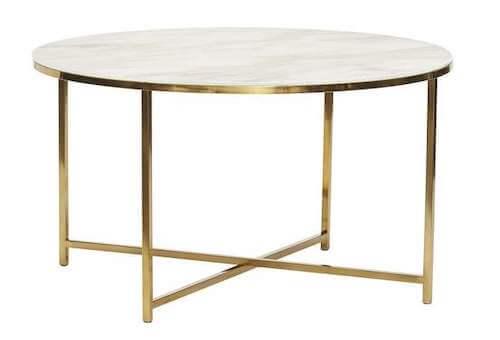 Hübsch Sofabord - Smukt rundt bord i messing og hvid bordoverflade