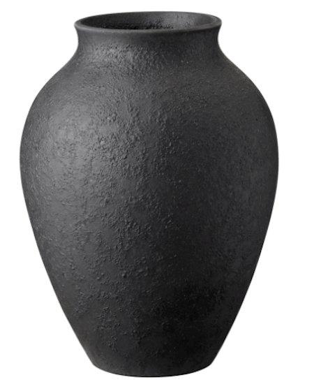 Knabstrup Keramik vase - Klassisk sort keramik vase på 20 cm
