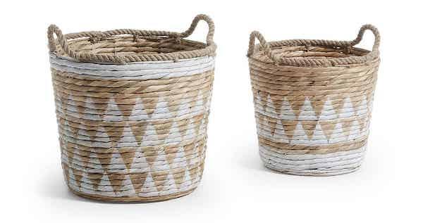 LAFORMA Maja flettet kurve sæt i hvid og naturfarve med geometrisk mønster