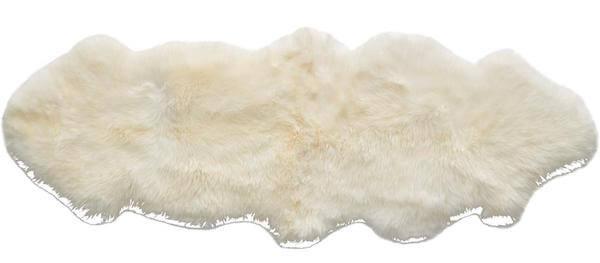Lamb XL korthåret hvid uld skind i størrelse 60 x 160 cm