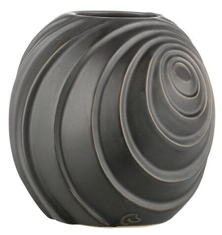 Lene Bjerre Swirl - Sort keramik vase med et flot og spændende design