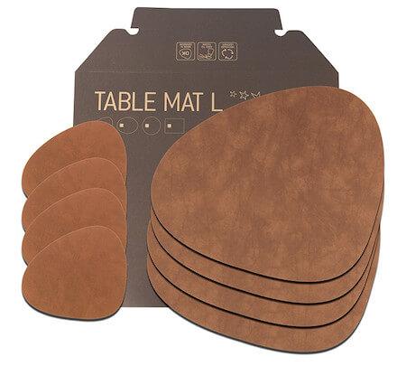 Lind DNA tablemat brun læder dækkeserviet som gave sæt af 4 stk