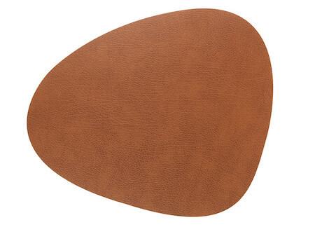 Lind DNA tablemat natur-brun læder dækkeserviet i curve form