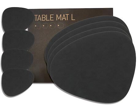 Lind DNA tablemat sort læder dækkeserviet som gave sæt af 4 stk