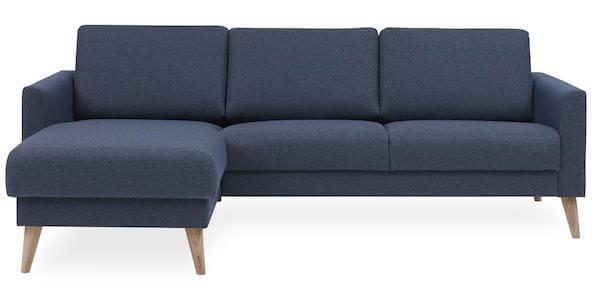 Lotus sovesofa med chaiselong - Fed sofa i blå stof og hvidolierede ben i eg