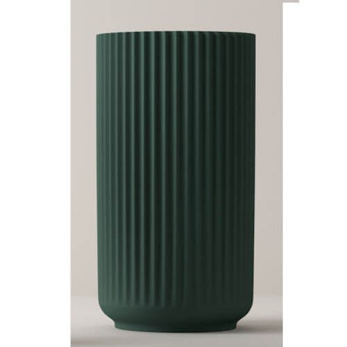 Lyngby porcelæn mat grøn vase med riller