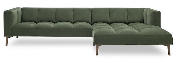 Orto Sofa med chaiselong - Med blødt velour stof og røgfarvede træben
