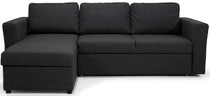 Polo billig sovesofa med chaiselong i sort stof inkl. opbevaringsmagasin