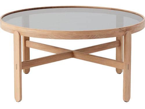 Sicle Sofabord - Lille sofabord i str. 45 x 90 og røgfarvede glas samt og hvidolieret eg