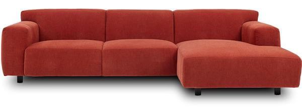 Siena sofa - Fed chaiselong sofa i en fræk rød farve og mange lækre detaljer