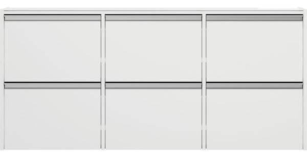 Skyline skoskab - Til vægophæng i hvid mat og top glasplade