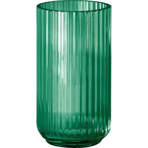 Smuk grøn glas lyngby vase med riller