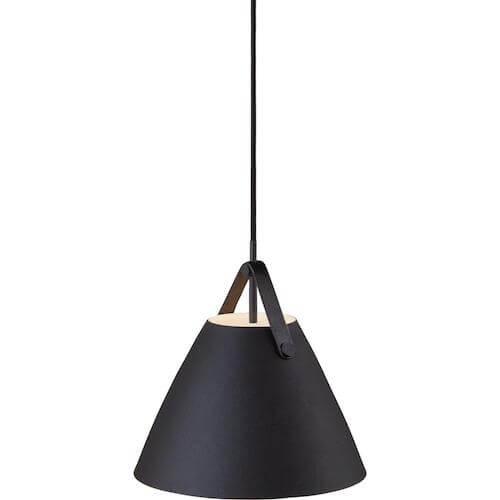 Strap pendel 27 - Klassisk tidsløs lampe med læderstrop med metalskærm