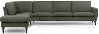 Sydney grøn chaiselong sofa med smart OPEN-END funktion