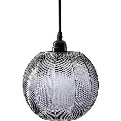 Yasmin pendel - Moderne pendel lampe til stuen med grå rillet grå glasskærm