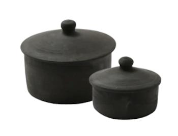 Au Masion 2 krukke sæt af sort keramik