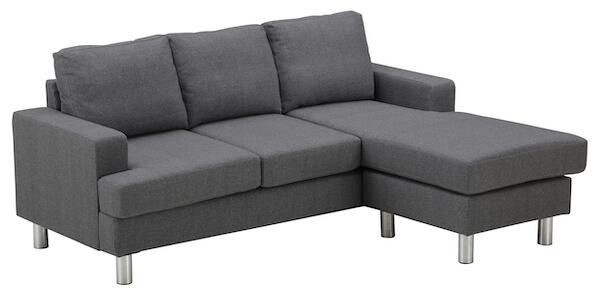 Billig 3 personers sofa med chaiselong med grå betræk og metalben