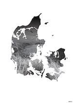 Black design plakat til stuen med Danmark