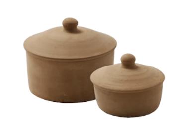 Bowl Terracotta keramik krukke med låg i 2 størrelser