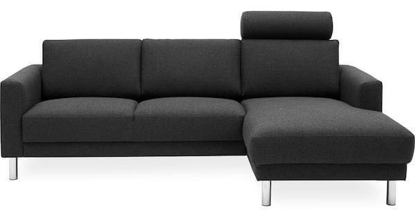 Cleveland 3 personers sofa med chaiselong i antracit gråt betræk og krom ben