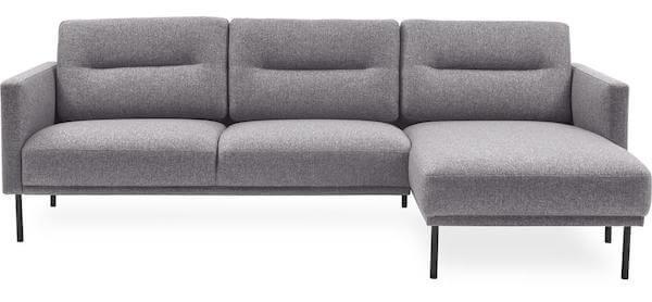 Flot Larik chaiselong sofa med ben i sortlakeret metal ben og grå stof