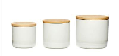 Hübsch 3pk. opbevaringsdåser i keramik med låg af træ