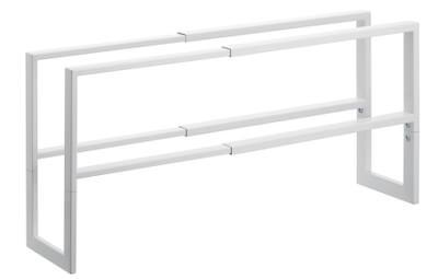 Klassisk budgetvenlig skostativ i hvid metal der kan udvides Klassisk budgetvenlig skostativ i hvid metal der kan udvides