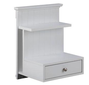 Linnea hvid natbord med 2 små hylder og 1 skuffe