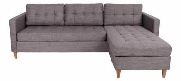 Marino budgetvenlig lysegrå 3 personers sofa med chaiselong og træben