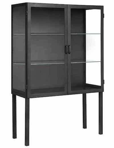 Nordal sort jernskab med glas og lange ben og gennemsigtige sider